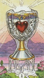 Kristal Kira presents Robin Wood Tarot Ace of Cups Card.
