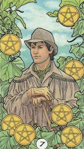 Kristal Kira presents Robin Wood Tarot 7 of Pentacles Card.