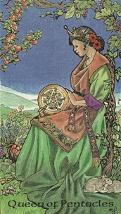 Kristal Kira presents Robin Wood Tarot Queen of Pentacles Card.